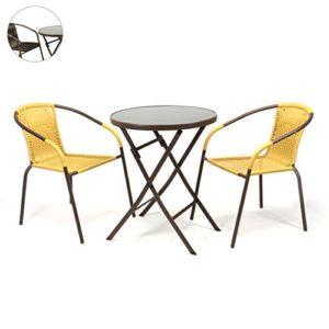 Nexos Bistroset Balkonset Rattanset – Sitzgarnitur aus Glastisch & Bistrostuhl – Stahlgestell Polyrattan Glasplatte…