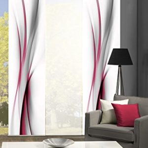 wohnfuehlidee 3er-Set Flächenvorhang | Deko Blickdicht | UFA | Höhe 245 cm | 2X Dessin /1x Uni transparent | Fb. rot/weiß