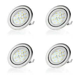 4 x stück sweet-led flacher Einbaustrahler LED, 230V, 3W, ultra flach möbeleinbauleuchte, Rund, Chrom gebürstet,  Warmweiß