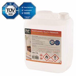 Höfer Chemie 1 x 5 L Bioethanol 96,6% Premium – TÜV SÜD zertifizierte QUALITÄT – für Ethanol Kamin, Ethanol Feuerstelle, Ethanol Tischfeuer und Bioethanol Kamin