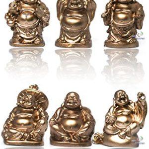 Yudu® 6 stück Verschiedene Buddha Figuren Glücksbringer Happy Buddha