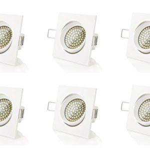 sweet-led 6 x flacher Einbaustrahler LED, 230V, 3,5W, Schwenkbar, Eckig, Weiß, 350 lumen, Kaltweiß