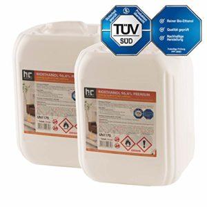 Höfer Chemie 6 x 10 L Bioethanol 96,6% Premium – TÜV SÜD zertifizierte QUALITÄT – für Ethanol Kamin, Ethanol Feuerstelle, Ethanol Tischfeuer und Bioethanol Kamin