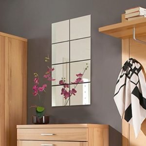 8er Set Spiegelfliesen Spiegelkachel Fliesenspiegel Spiegel je 20,5×20,5cm Wanddekoration Wandspiegel