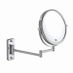 ALHAKIN 8inch 1/10fach Wand Kosmetikspiegel Wandmontage Bad Spiegel Ausziehbare Armlänge verchromt ohne Beleuchtung MEHRWEG
