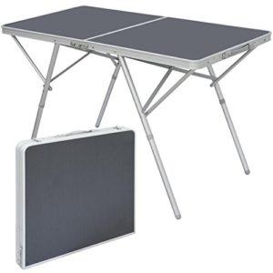 AMANKA Standfester Aluminium Campingtisch 120x60x70cm Stabiler Klapptisch Alu-Falttisch Garten-Tisch Klappbar Anthrazit