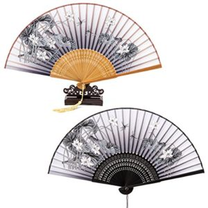 ANPHSIN 2 Stück Faltbar Handfächer und 1 Fächerständer(frei als Geschenke) – Chinesischer Handfächer Dekofächer aus Stoff mit Quaste für Sommertage, Party, Hochzeit, Partydankesgeschenke, Flamenco Bauch-Tanz