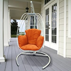 ART TO REAL Ei-hängender Schwingen-Stuhl mit Kissen, Patio-Schwingen im Freien mit C-Stand, Ei-hängender Hängematte…