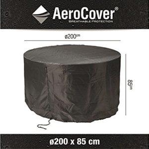 AeroCover Atmungsaktive, frostbeständige und Wasserdichte Schutzhülle in anthrazit für eine Gartenmöbel Gruppe, in praktischer Tragetasche, rund 200 cm x H 85 cm, 7912
