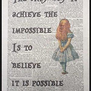 Alice im Wunderland Zitat Vintage Wörterbuch Kunstdruck Bild Inspirierende Quirky Funky