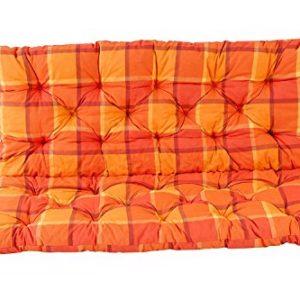 Ambientehome 2er Bank Sitzkissen und Rückenkissen Hanko, kariert orange, ca 120 x 98 x 8 cm, Bankauflage, Polsterauflage