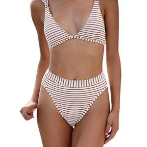Amlaiworld Sommer gestreift drucken Band Bikini Set Mode Niedlich Tankini Sport Strand bademode elegant Damen badeanzüge Schwimmen mädchen Beachwear für mollige