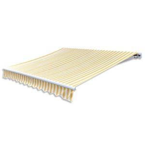 Anself Gelenkarmmarkise Markise Creme 3mx2,5m ohne Rahmen Gelb & Weiß