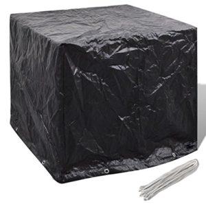 Anself Schutzhülle Abdeckhaube mit 8 Ösen für Gartenmöbel-Set 180 x 140 x 90 cm Schwarz