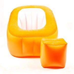 Aufblasbarer Sessel von Bestway, Maximale Belastung 100 Kg, Oberflächebeflockt, modernesLounge-Design, lieferbar in den Farben Blau/Weiß, Orange/Weiß oder Pink/Weiß (Blau/Weiß)