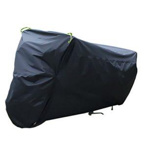 Awnic wasserdichte Motorradabdeckung Abdeckung für Motorrad 210T TAFT mit Anti-UV-Beschichtung Schlüsselloch Gegen Diebstahl Nacht Schützende Reflektierende Bänder -Schwarzes/Silber