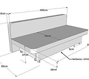 Collection AB Schlafsofa Orlando-PUR Mikrofaser Rot-Grau, 186×85 cm