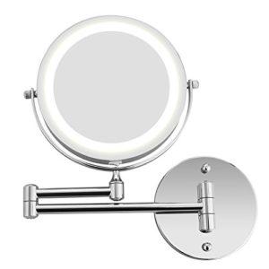 BATHWA Wandmontage Zweiseitig Beleuchteter Kosmetikspiegel, 360° Horizontal Schwenkbar und Vertikal, Metall Verchromt 5…