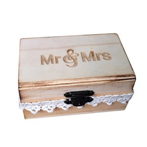 BESTOMZ Holz Hochzeit Ring Box Rustikale Verlobung Hochzeit Ring Bearer Box