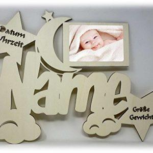 Baby Bilderrahmen 10×15 Individuell mit Namen Geburtsdaten Personalisiert als Geschenk I Optional mit Farbe