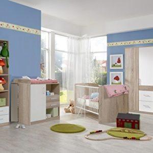 möbel-direkt Babyzimmer Nicki komplett Sets Verschiedene Ausführungen (Babyzimmer Nicki 5tlg. 4türiger Schrank, Sägerau/Weiß)