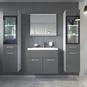 Badezimmer Badmöbel Set Rio XL LED 60 cm Waschbecken Hochglanz Grau Fronten – Unterschrank 2x Hochschrank Waschtisch Möbel