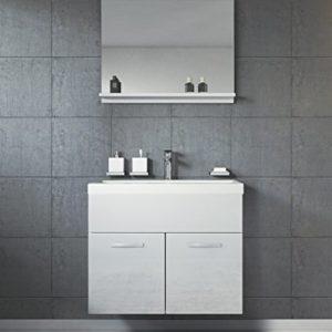 Badezimmer Badmöbel Set Montreal 02 60cm Waschbecken Hochglanz Weiß Fronten – Unterschrank Waschtisch Spiegel Möbel