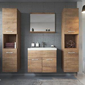 Badplaats B.V. Badezimmer Badmöbel Set Montreal XL 60 cm Waschbecken Lefkas – Unterschrank Hochschrank Waschtisch Möbel