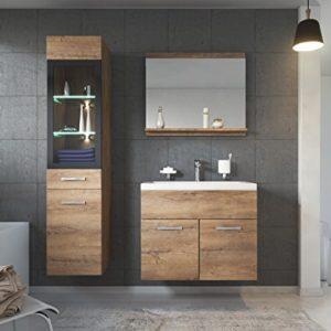 Badezimmer Badmöbel Set Rio LED 60cm Waschbecken Lefkas (Braun) – Unterschrank Hochschrank Waschtisch Möbel