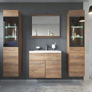 Badezimmer Badmöbel Set Rio XL LED 60cm Waschbecken Lefkas (Braun) – Unterschrank 2X Hochschrank Waschtisch Möbel