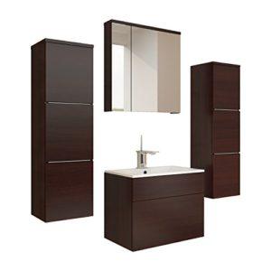 Badmöbel Set Porto mit Waschbecken und Siphon, Modernes Badezimmer, Komplett, Ink. Spiegelschrank, Waschtisch, Hochschrank, Möbel