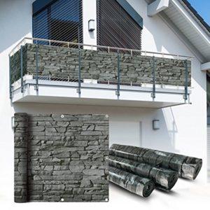 Balkon Sichtschutz 6×0,9m Schiefer Look Balkonsichtschutz Balkonverkleidung Sichtschutzmatte Balkonverkleidung…