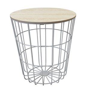 Beistelltisch rund 40xH43cm, weißer Metallkorb mit abnehmbarer Holzplatte – Aufbewahrungskorb Couchtisch Blumentisch…