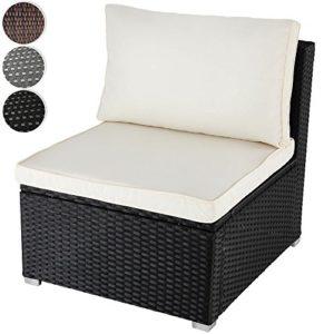 MIADOMODO Bequemes Loungesofa aus Polyrattan für 1 Person Einsitzer Gartenmöbel inkl. Sitzkissen -Farbwahl- schwarz, grau oder braun
