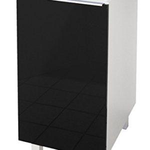 Berlenus CP4BN Küchenunterschrank, 1 Tür, 40cm, Hochglanz Schwarz