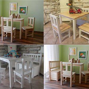 Best of Jam® Kindersitzgruppe aus europäischem Kiefernholz MASSIVHOLZ 1 Tisch 2 Stühle 1 Kindersitzbank mit Deckelbremse und Stauraum