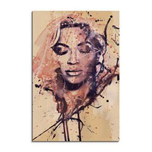 Beyonce II 90x60cm Kunstbild auf Leinwand fertig zum aufhängen , Wandbild als Aqurell Art nach Gemälde von Paul Sinus