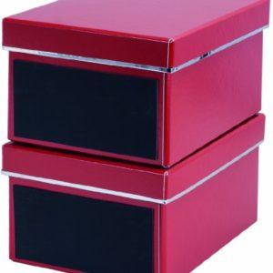 Bigso 386223309 2xEmelie DVD-Box, Archivbox, Aufbewahrungsbox, mit Kreidetafel, 2-er Set, 28,5 x 21,5 x 15 cm, rot 7330061386335, OFFICE