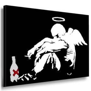 Bild auf Keilrahmen – Banksy Graffiti Art Smoking Angel – Fotoleinwand24 / AA0125