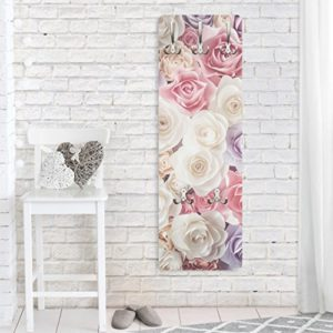 Bilderwelten Wandgarderobe Pastell Paper Art Rosen Garderobe Garderobenpaneel Kleiderhaken Flurgarderobe Hakenleiste Holz Standgarderobe Hängegarderobe