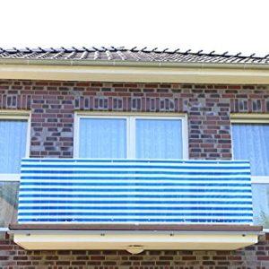 Jinju Blau&Weiß 0,9 x 2 Meter PE Balkonsichtschutz, Balkonverkleidung, Windschutz, Sichtschutz und UV-Schutz für Balkon…