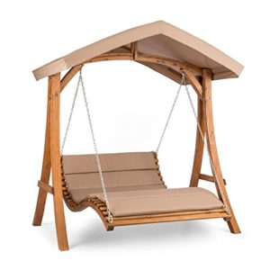 blumfeldt Bermuda • Hollywoodschaukel • Gartenschaukel • Sitzfläche:130 cm • Belastung: max. 240 kg • Lärchenholz • Weichholz • witterungsbeständig • Sonnendach • 5 cm Polyester Sitz-Kissen • beige