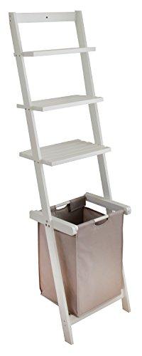 BonVivo Leiterregal Vivienne, Vielseitiges Badezimmer-Regal mit Abnehmbaren Wäschekorb und 3-Fächern zur Ablage