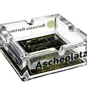 Borussia Dortmund BVB Aschenbecher, Glas, Schwarz/Gelb 7.5 x 7.5 x 5 cm