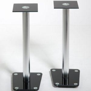 Boxenständer Lautsprecher Ständer Sourround Alu Halterung Schwarz Glas Standfuss