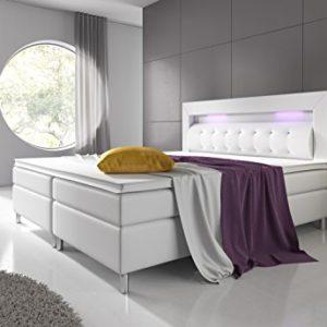 Home Collection24 Boxspringbett 180×200 cm mit Bonell Federkernmatratze Topper in H3 Hotelbett Doppelbett LED…