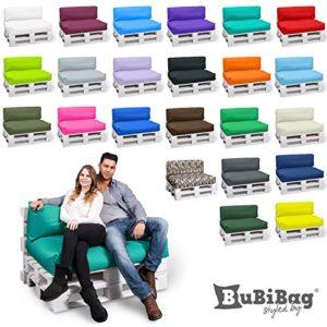 BuBiBag Palettenkissen Sitzkissen Sitzauflage 2er Set – Sitzpolster 120x80x15cm + Rückenkissen 120x40x15 cm – In & Outdoor – Palettenpolster (orange)