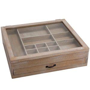 Butlers Gutenberg Setzkasten aus Holz Vintage 40×36 cm – kleine Sammlervitrine mit Deckel und Glasscheibe