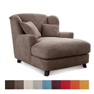 Cavadore XXL-Sessel Assado / Zweifarbiger Polstersessel in cappucino/ dunkelbraun mit Holzfüßen, großer Sitzfläche, Polsterung und 2 weichen Zierkissen