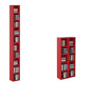 CD DVD Regal Ständer Aufbewahrung Chart, in rot mit 10 Fächern für bis zu 160 CDs, 20×186,5 cm (Breite x Höhe)